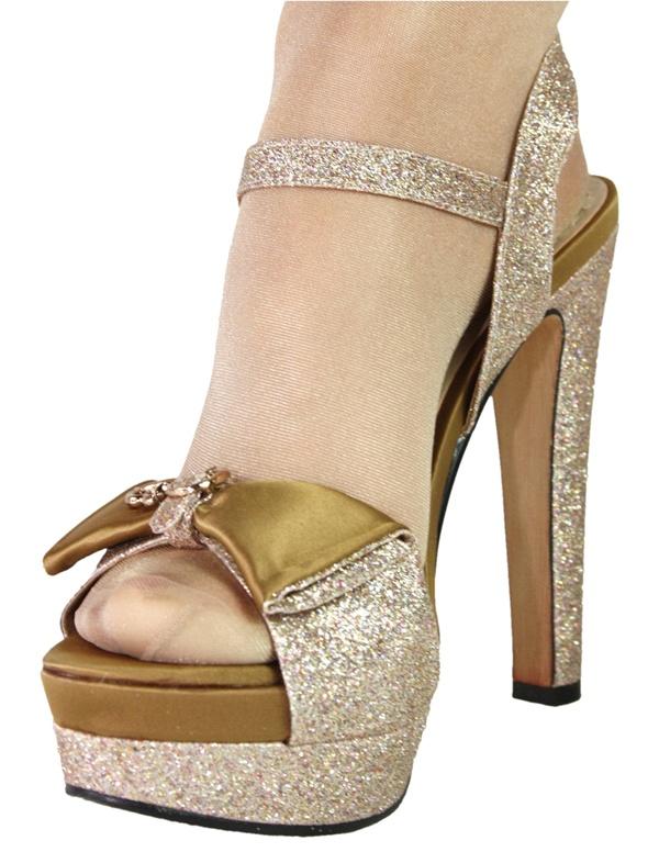 edle sandalette high heel plateau damenschuh gold glitzer 10335. Black Bedroom Furniture Sets. Home Design Ideas